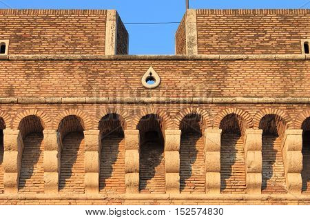 Battlements of Saint Angel Castle. Rome, Italy