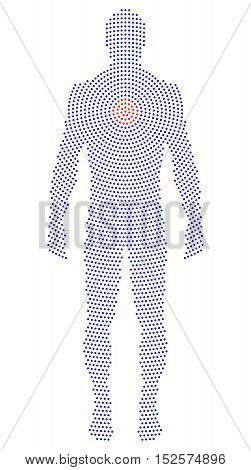 Upright silhouette of a body with radial dot pattern. Formed by blue dots beginning with red dots from the heart. Abstract illustration on white background.