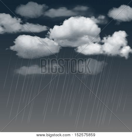 Summer background with rainclouds and rain in the dark sky. Vector illustration