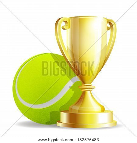 Golden trophy cup with a Tennis ball isolated on white background. Vector illustration
