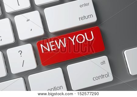 New You Concept Metallic Keyboard with New You on Red Enter Key Background, Selected Focus. 3D Illustration.