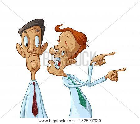 Two business men gossip vector cartoon illustration