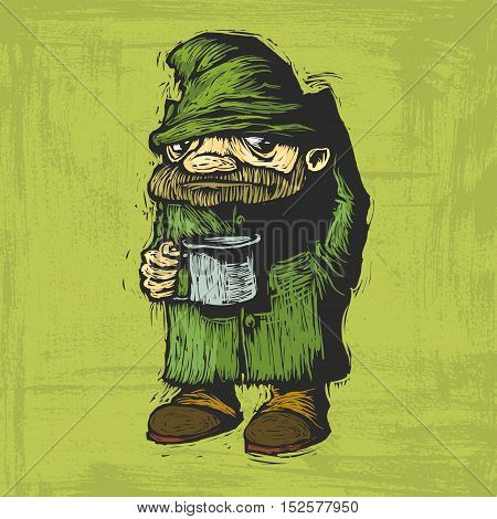 homeless in dirty clothes with mug in hand begging. Vector cartoon