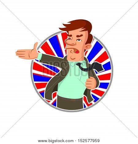 Cartoon politician says a speech emblem round shape poster