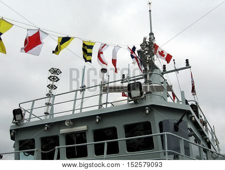 The Naval Signal Flags of warship Sweeper Kingston in Kingston Canada May 19 2008