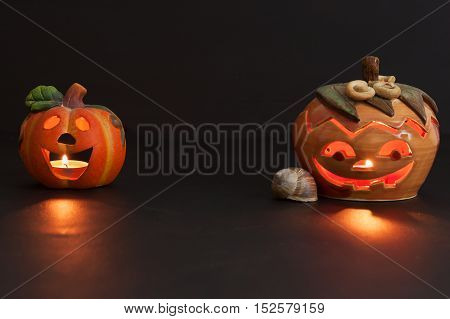 Pumpkin lantern for Halloween. Haunted greeting. Traditional spooky decorations.