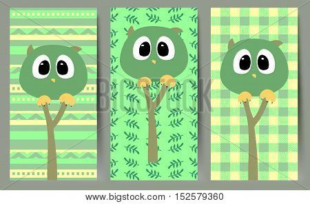Simple vector illustration with green funny owls.