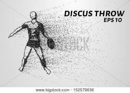 Throwing discus from the particles. The throwing of the discus of dots and circles. Throwing the discus into smaller molecules.