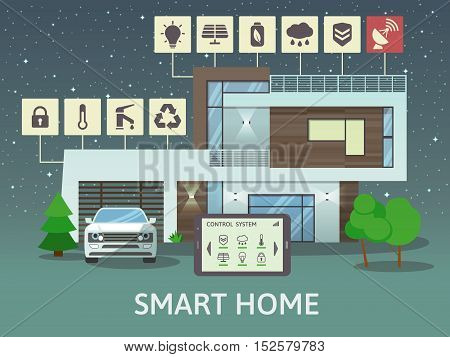 Modern Big Smart Home with terrace, at night. Flat design style concept, centralized control system. Vector illustration.