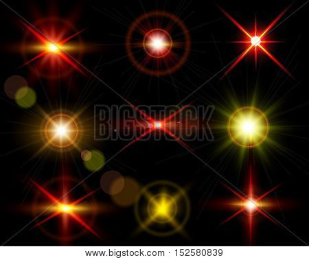 Mega set of sparkle lights with transparency effects. Collection of beautiful bright lens flares. Lighting effects of flash. Easy to use.