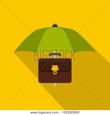 Green umbrella and business case icon. Flat illustration of umbrella and business case vector icon for web isolated on yellow background