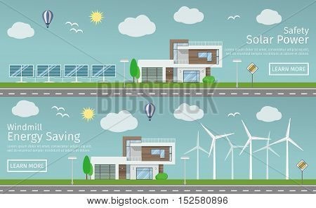 Modern Houses with alternative Eco Green Energy, flat web banners set concept. Wind Turbines and Solar Panels. Vector illustration.