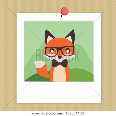 Vintage Cute Fox Illustration Flat Vector Stock - Gentleman Fox With Papillon -