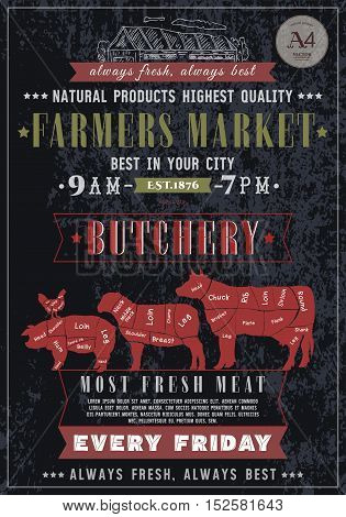 Butcher shop vintage poster. Fresh meat beef pork lamb. Butchery retro poster chalkboard style hand drawn vector