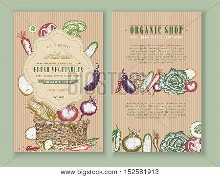 Vegetables farmers market design template. Healthy food frames banner collection