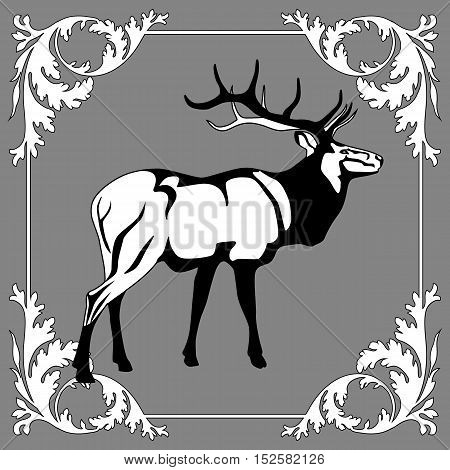Graphical deer, winter deer, quality deer, goods deer, black deer, forest deer, web deer, horny deer, wildlife deer, animal deer. Vector.