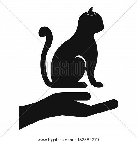 Hand holding a cat icon. Simple illustration of hand holding a cat vector icon for web