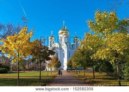 TSARSKOYE SELO, SAINT-PETERSBURG, RUSSIA - OCTOBER 19, 2016: Church of St Catherine Martyr, Tsarskoye Selo Deanery, Diocese of St.Petersburg is located in the center of the town on Cathedral Square