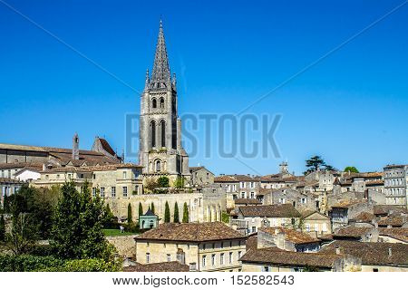 cityscape of Saint-Emilion Typical town near Bordeaux in France famous for the viticulture