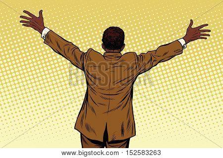 Back African American businessman open hands for hugs, pop art retro vector illustration