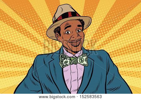 Retro African American businessman with dollar tie, pop art retro vector illustration