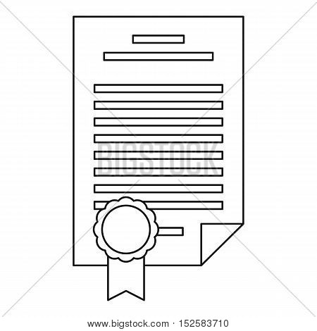 Insurance document icon. Outline illustration of insurance document vector icon for web