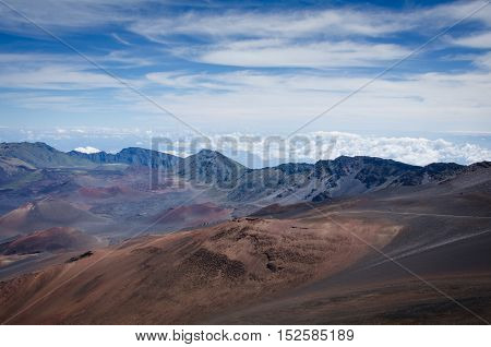 The crater of the dormant volcano of Mt. Haleakala on the Hawaiian Island of Maui on an unusually clear day.