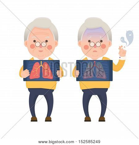 Vector Illustration of Happy Old Man Holding X-ray Image Showing Healthy Lung Compare with Sad Man Showing Lung Pulmonary Emphysema Problem, Cartoon Character