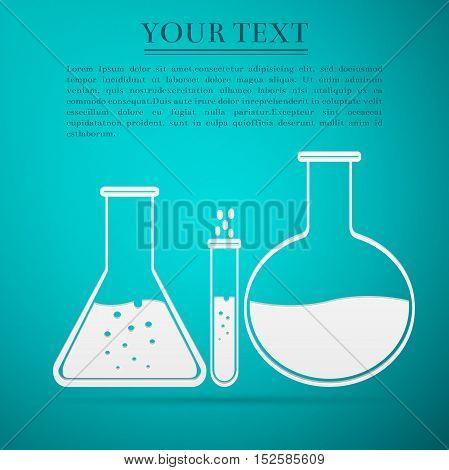 Laboratory glassware flat icon on blue background. Vector Illustration