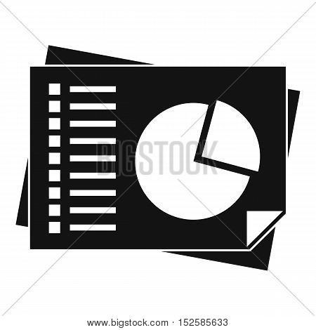 Sheets of paper with charts icon. Simple illustration of sheets of paper with charts vector icon for web