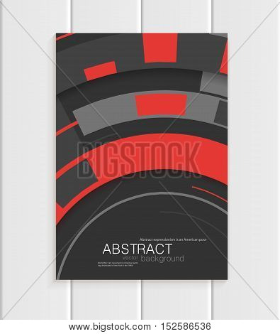Stock vector brochure in abstract style. Design business templates with red rounds, rectangular shapes on dark gray background for printed materials, elements, web sites, cards, covers, wallpaper
