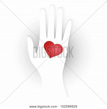 illustration of heart in the palm. Man extends his hand with heart symbol - declaration of love.