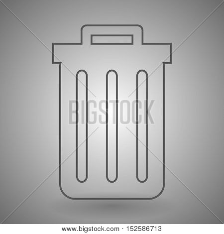 recycle bin icon. trashcan icon contour vector illustration on gray background .