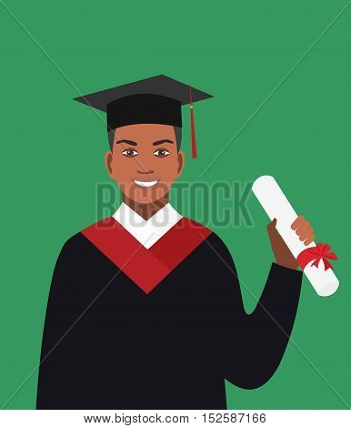 Boy afro-american graduates in the mantle. Vector illustration in flat design.