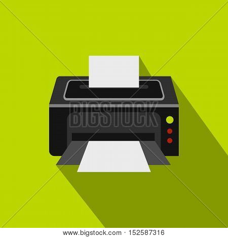 Photo printer icon. Flat illustration of photo printer vector icon for web isolated on lime background
