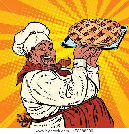 African American or Latino cook with a berry pie, pop art retro vector illustration