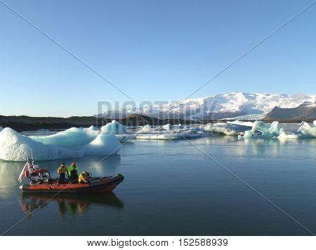 Boating amongst the icebergs on Jokulsarlon Glacier Lagoon, South Iceland