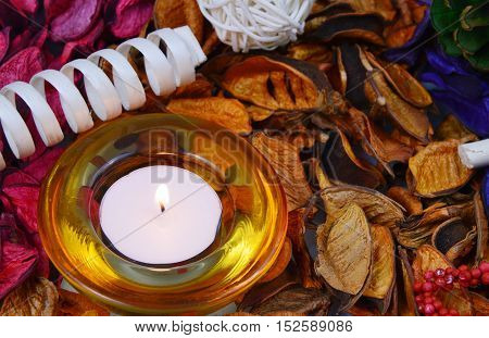candle,candle light and colorful,various scents of potpourri