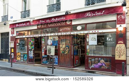 Paris France-October 15 2016: The traditional French bistrot Le Gavroche located near Bourse of Paris France.