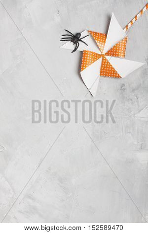 Orange Whirligig With White Stars And Black Rubber Spider
