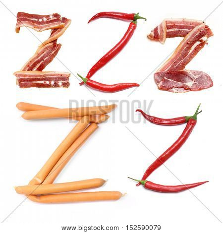 collection of letters of meat and red pepper. Fresh Meat alphabet. Bacon alphabet. The letter red chili peppers isolated on white background