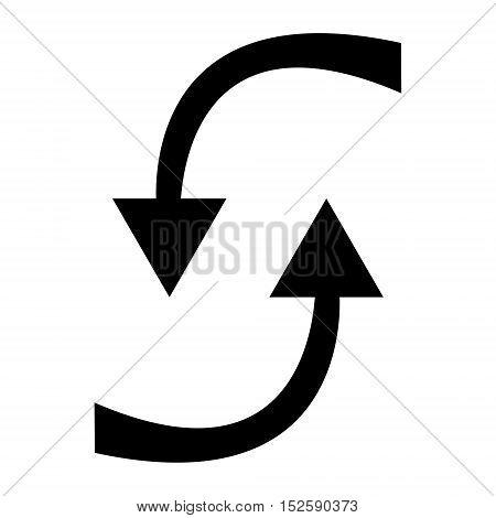Two black circle arrows on a white