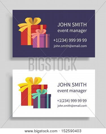 Event manager business card with gift boxes. Holidays organization, party management. Vector illustration.