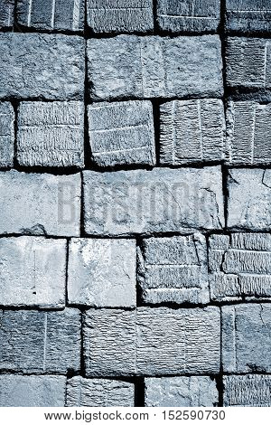 background or texture Old Blue aerated concrete blocks