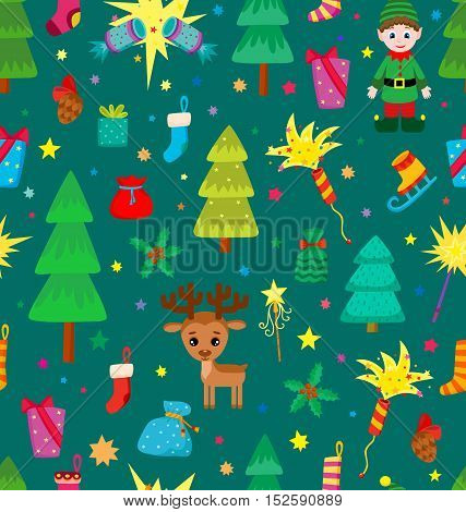 Christmas decoration seamless pattern. Background with graphic elements. Toys, hand drawn gifts, engraving fur-trees, deer and gifts socks. New Year vector.