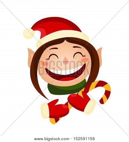 Cartoon cute christmas girl - elf holding a candy. Vector elf isolated on white.