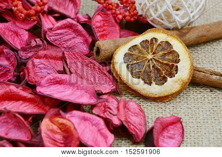 close up from dried orange and red potpourri.