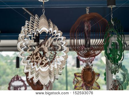 Shimmering metal wind art spinners or outside decor