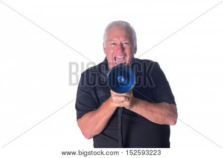 Man with loudhailer yelling instructions, isolated on white
