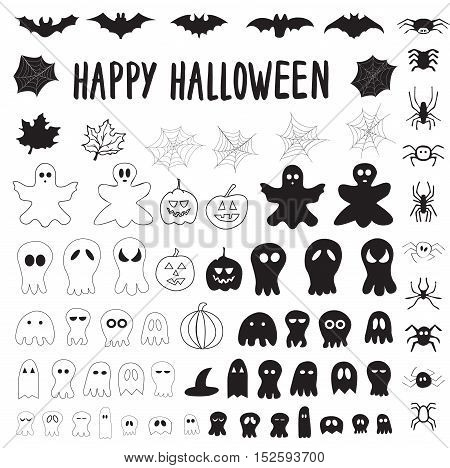 Halloween collection of outlines and silhouettes ghosts pumpkins cobwebs spiders bats. Isolated on white background.